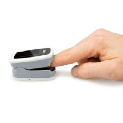 Pulse oximeter: a small device placed in your figure to transform your pulse to readings, these readings are oxygen saturation and heart rate. Oxygen saturation is the estimation of arterial oxygen saturation and the normal value of SPO2 is ranging from 100% to 95%. Below this range is hypoxia, low oxygen of the body tissue.